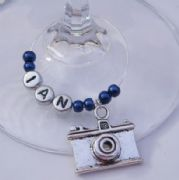 Camera Personalised Wine Glass Charm